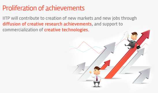 Proliferation of achievements - IITP will contribute to creation of new markets and new jobs through diffusion of creative research achievements, and support to commercialization of creative technologies.